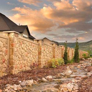 cobblestone concrete fence